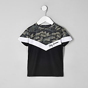 Boys khaki camo chevron blocked T-shirt