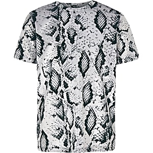 Boys grey velour snake print T-shirt
