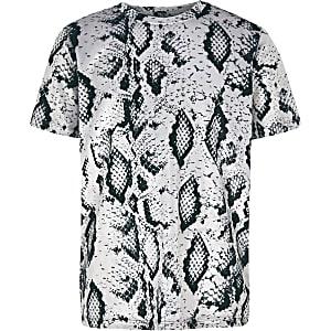T-shirt en velours à imprimé serpent gris pour garçon