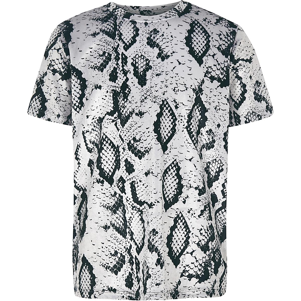 Boys grey velour snake print T-shirt