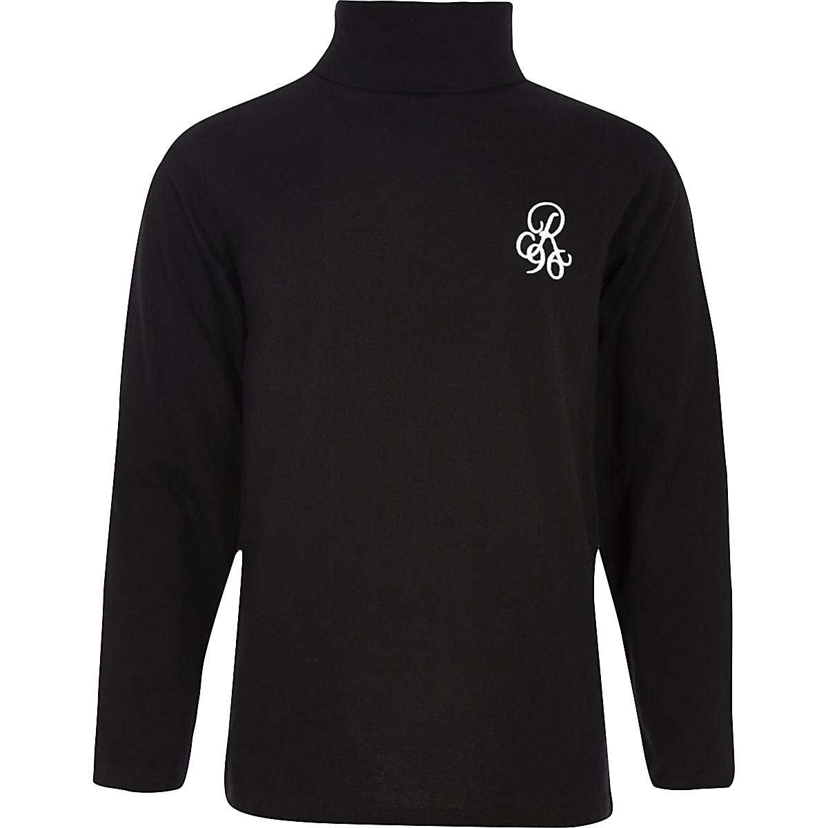 Boys black 'R96' roll neck top