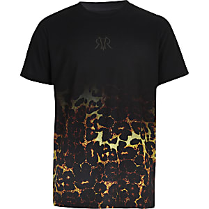 T-shirt à imprimé léopard effet dégradé noir pour garçon