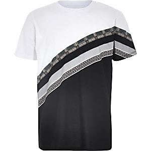 Boys white mixed print block T-shirt