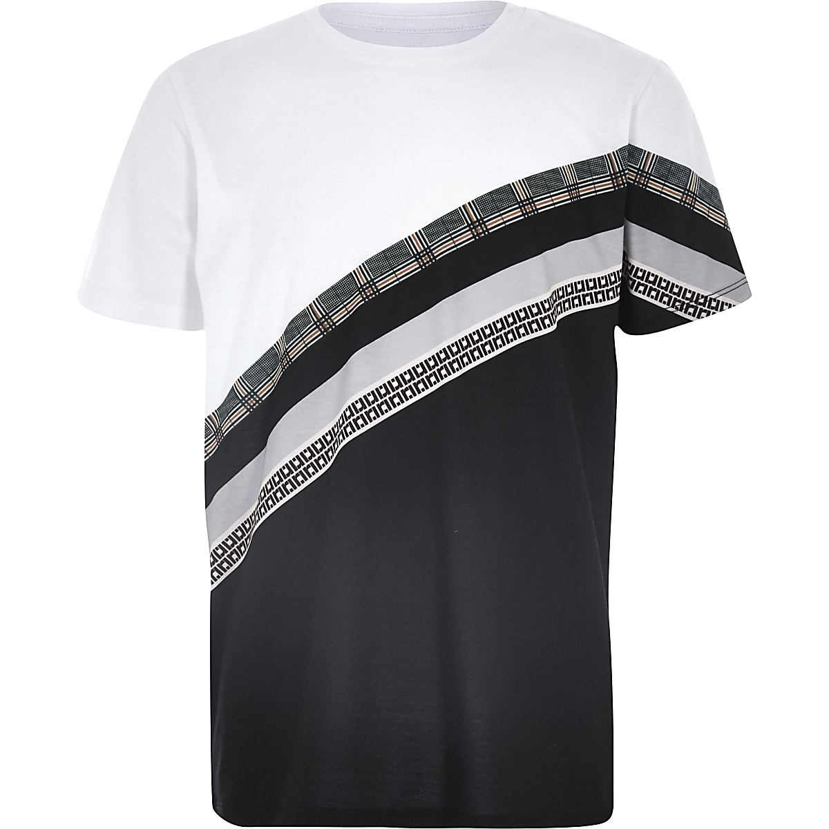 Boys white mixed print block T-shirt