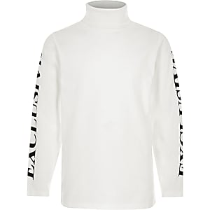 Boys white 'Exclusive' roll neck top