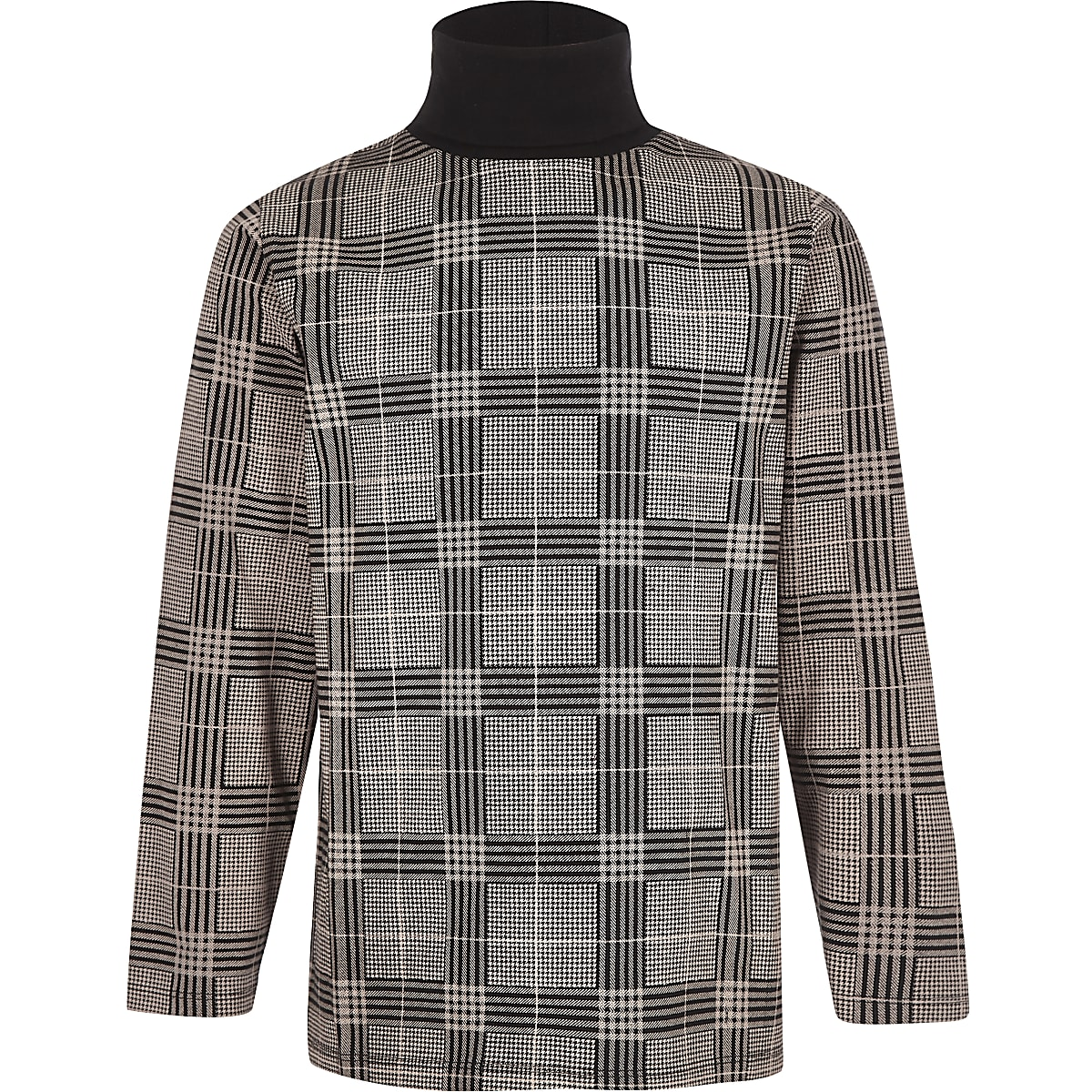 Boys grey check roll neck top