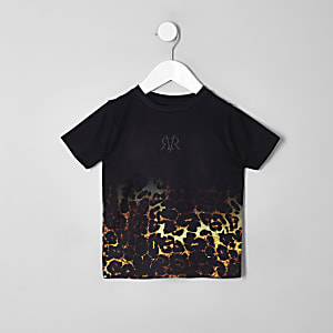 Schwarzes, ausgebleichtes T-Shirt mit Leoprint