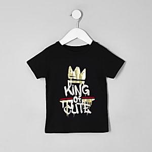 Mini boys black 'King of cute' T-shirt