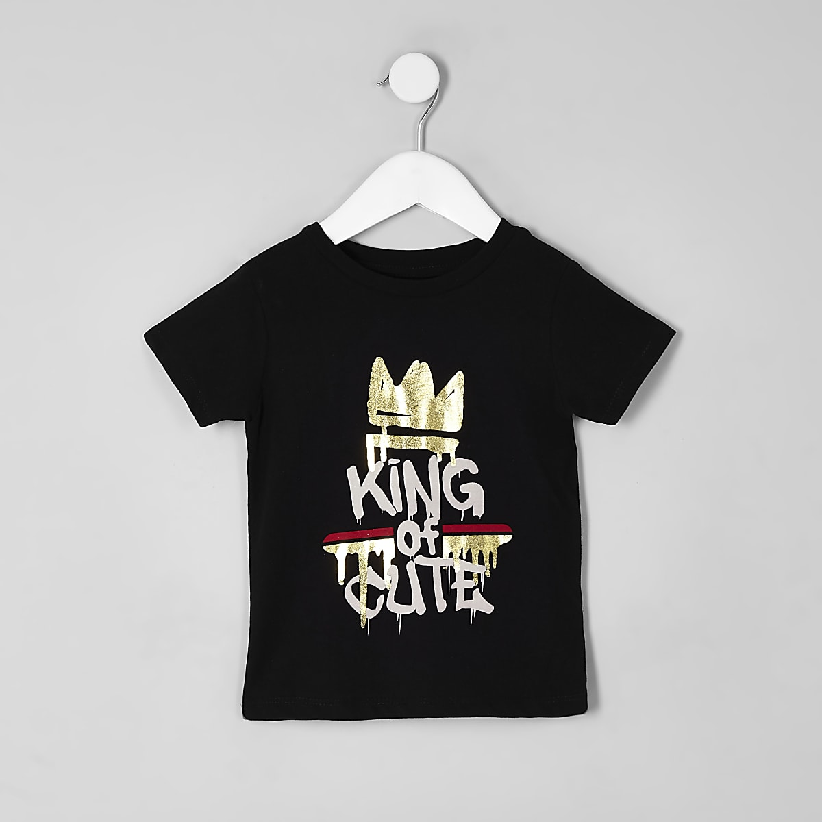 Mini boys black 'King of cute' T-shirt