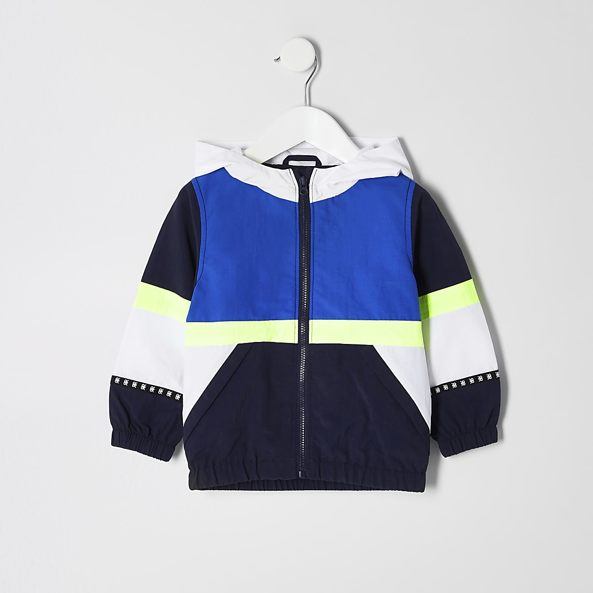 Mini boys neon panel windbreaker jacket