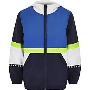 Marineblauw lichtgewicht jack met kleurvlakken voor jongens