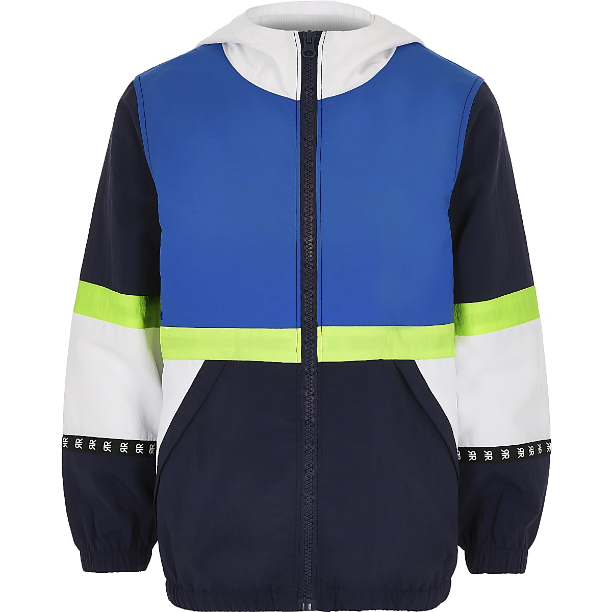 Boys navy block lightweight jacket