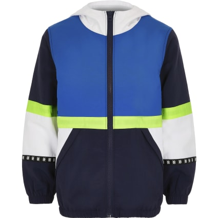 Boys navy block windbreaker