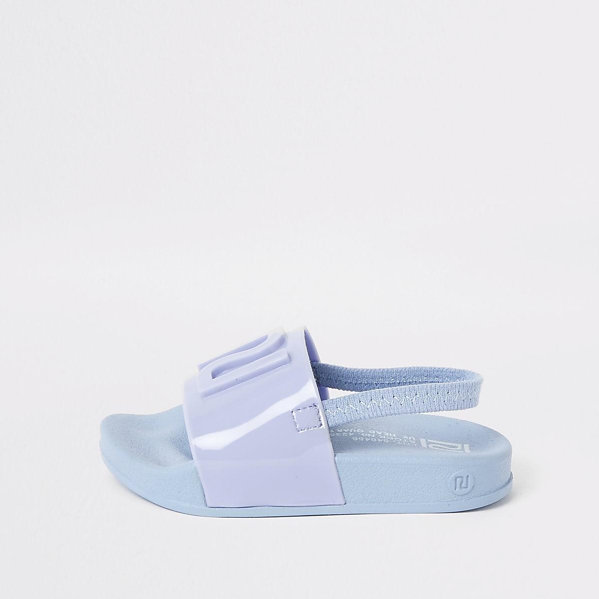 Mini - Blauwe jelly slippers met RI-logo voor kinderen