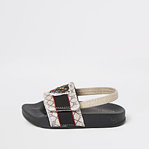 Mini - Bruine slippers met RI-monogram voor jongens