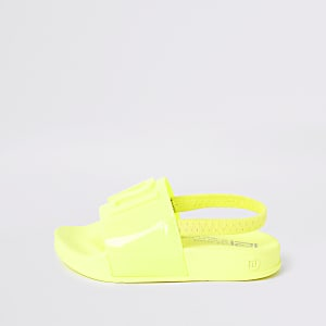 Mini kids neon yellow RI jelly sliders