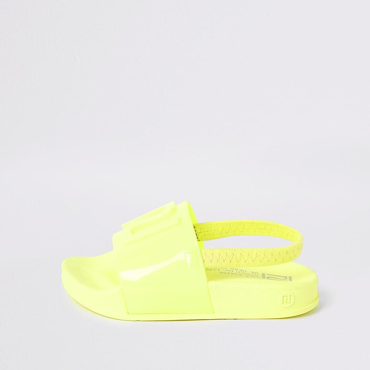 Mini kids neon yellow RI jelly sliders