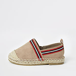 Mini boys light brown espadrille plimsolls