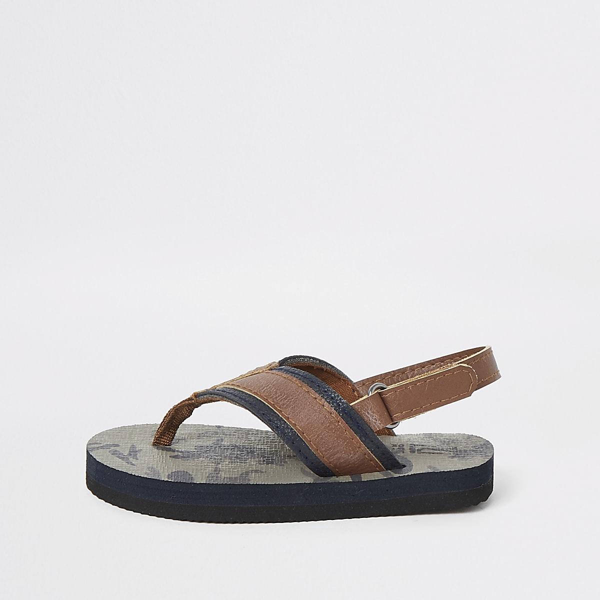 Mini boys khaki camo flip flop sandal