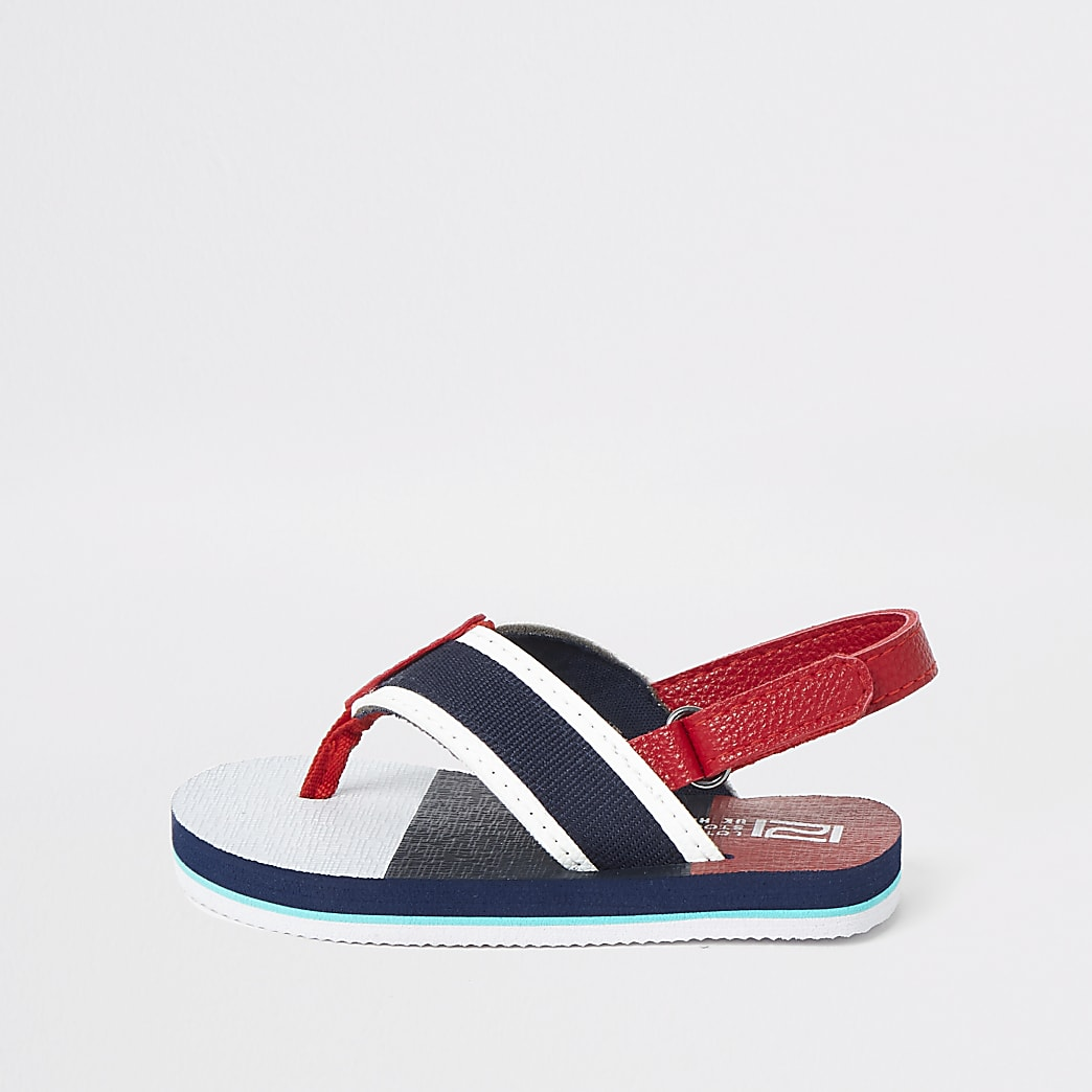 Mini boys navy stripe flip flop sandal
