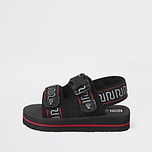 Sandales noires à Velcro avec bandes à logo RI mini garçon