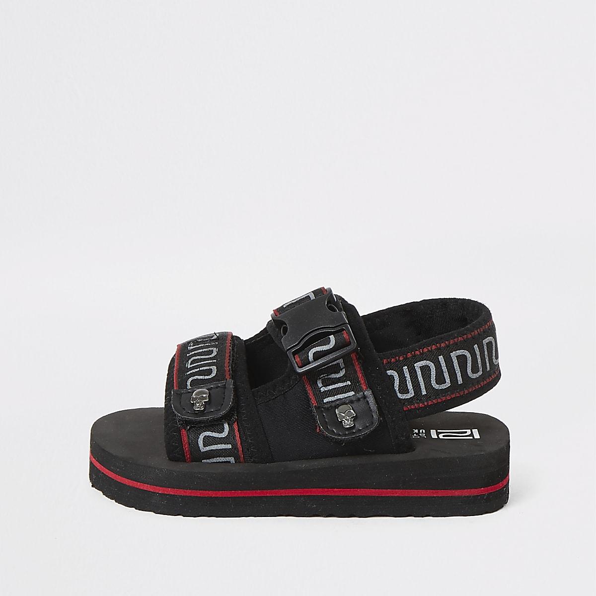 Mini - Zwarte sandalen met klittenband, RI-logo en bies voor jongens