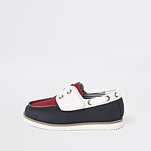 Mini boys navy velcro boat shoes