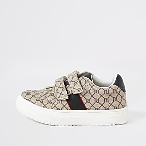 Mini boys brown RI monogram trainers