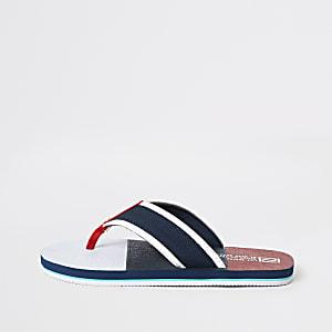 Marineblaue, gestreifte Sandalen
