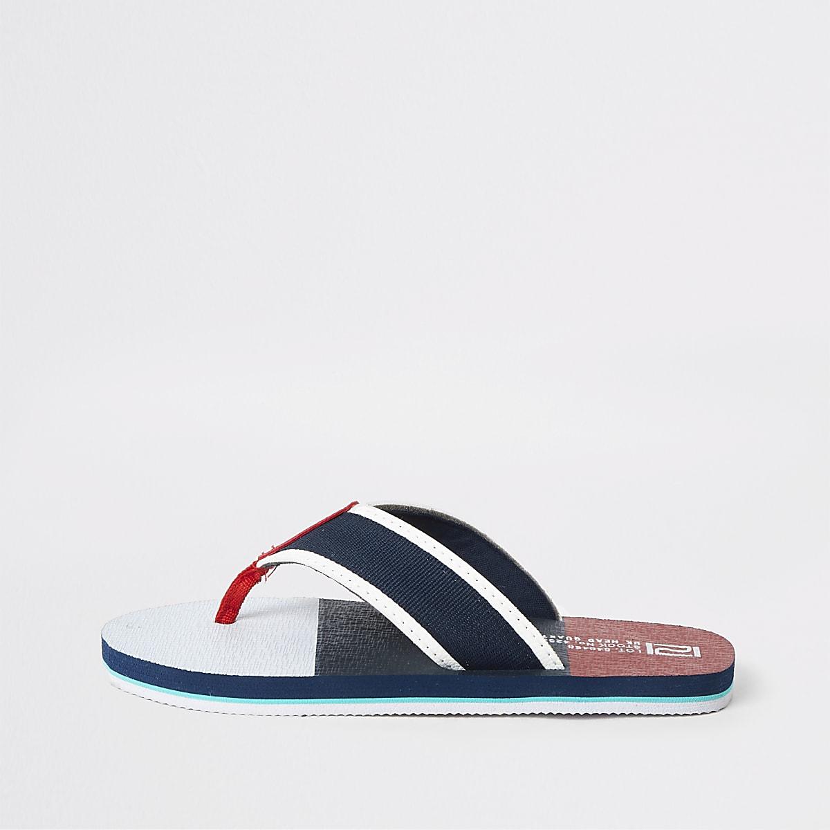 Boys navy stripe flip flop sandal