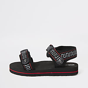 Boys black RI tape velcro sandals