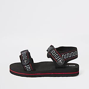 Zwarte sandalen met RI-logo, bies en klittenband voor jongens