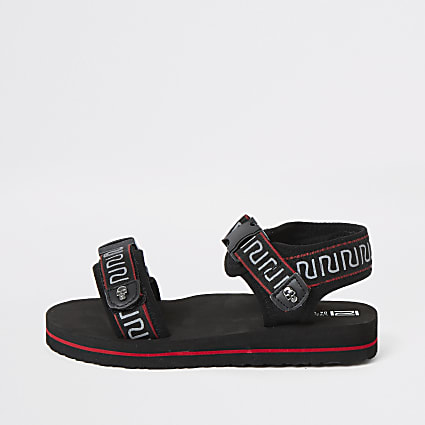 Boys black RI tape velcro sandals