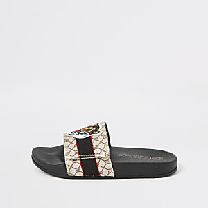 Boys brown RI monogram tiger velcro sliders