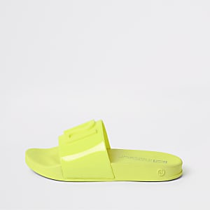Kids neon yellow RI jelly sliders