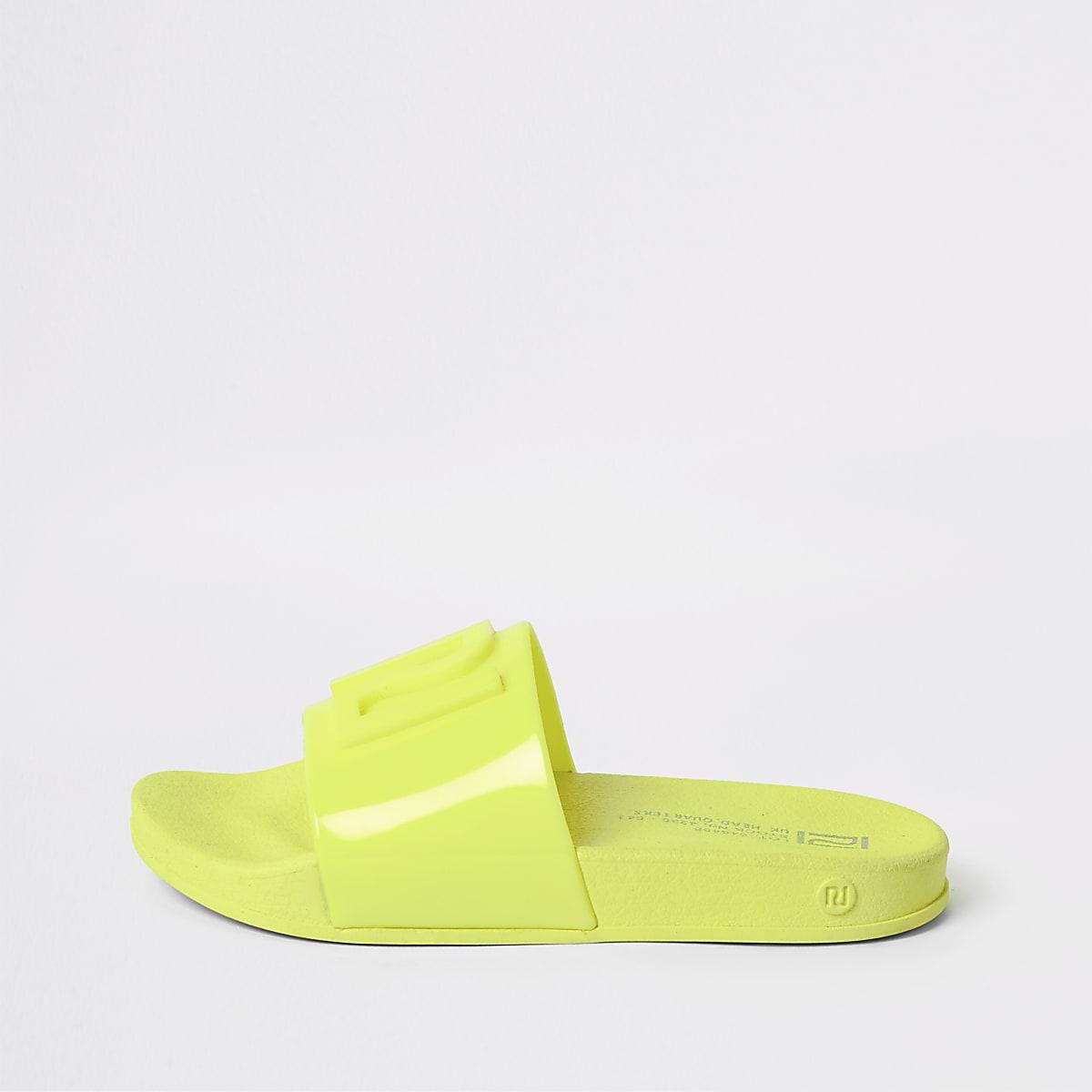 Neongele jelly slippers met RI-logo voor kinderen