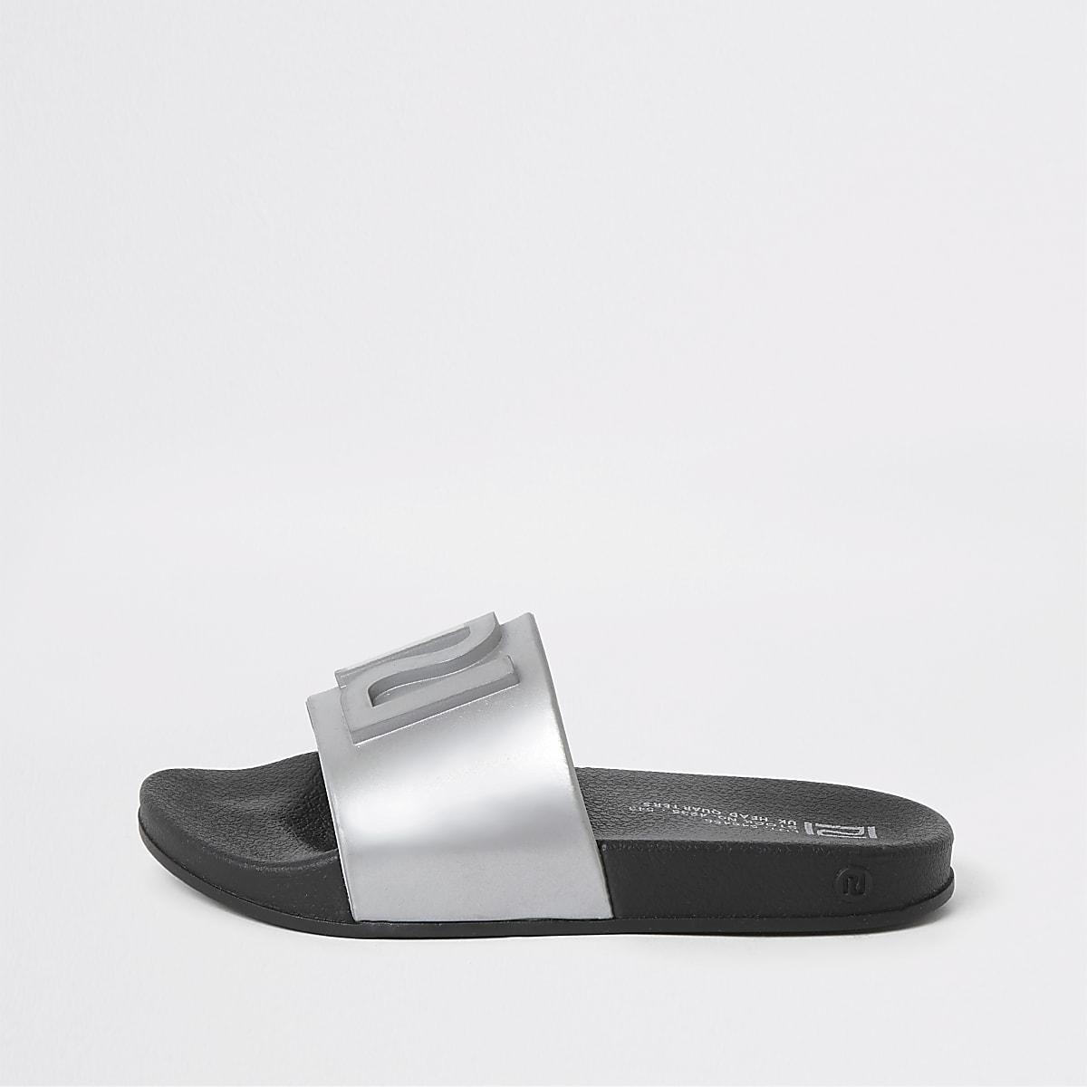 Zilverkleurige jelly slippers met RI-logo voor kinderen