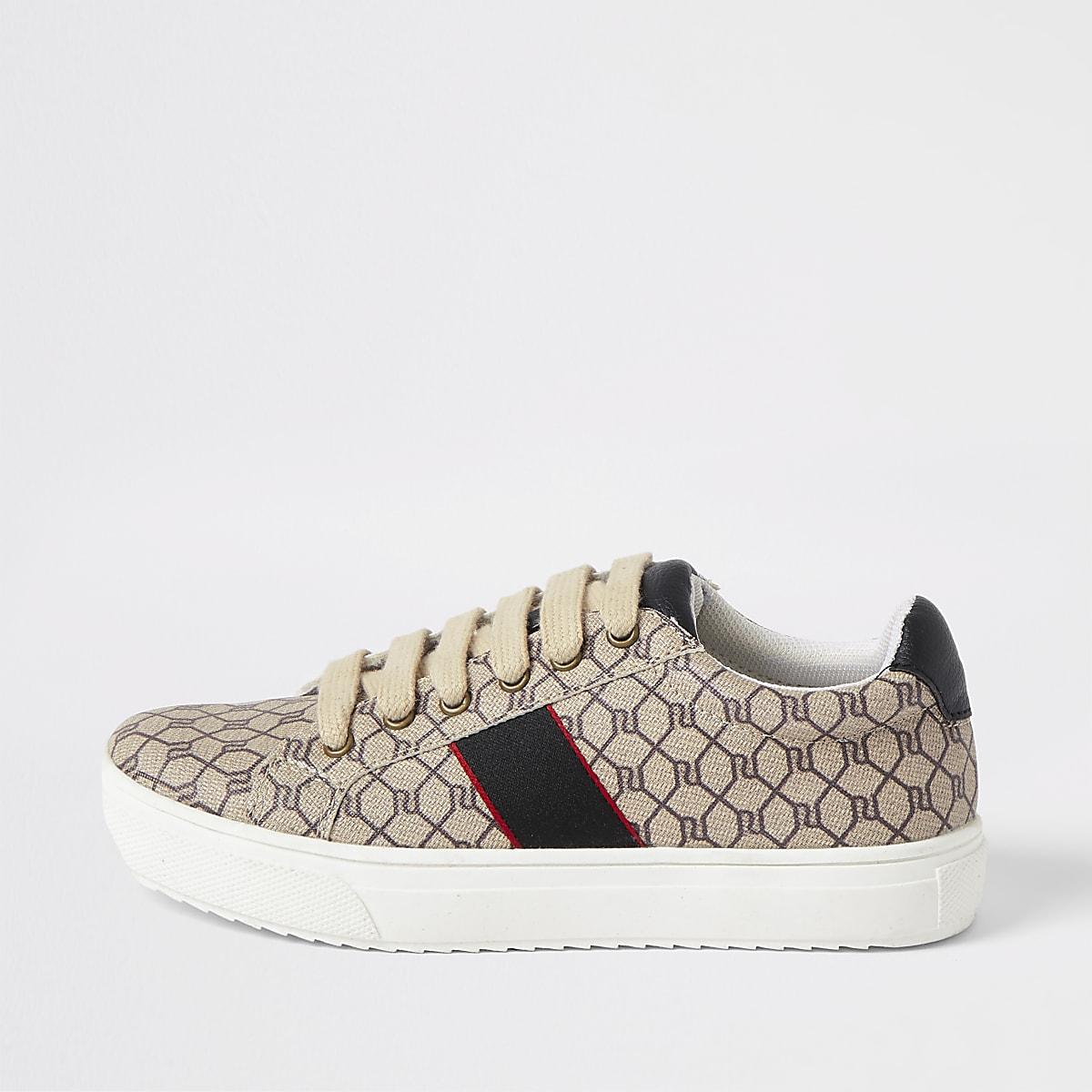 Braune Sneakers mit RI-Monogramm