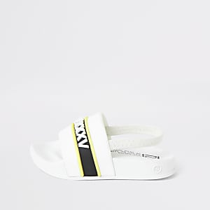 Mini boys white printed sliders