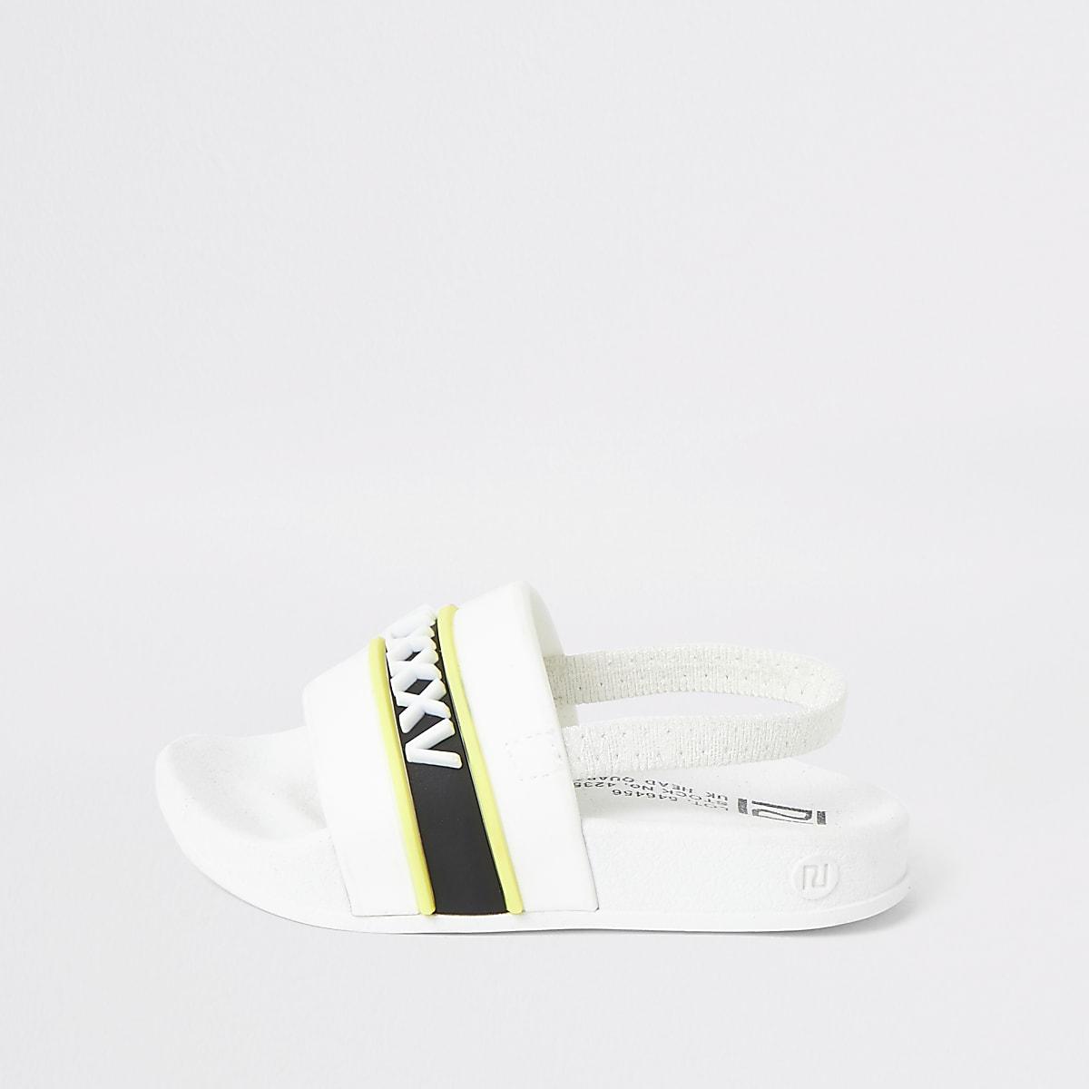 Mini boys white printed sliders