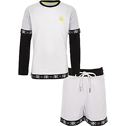 Boys RI Active white mesh short outfit