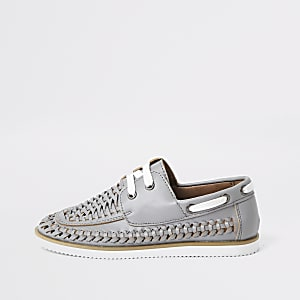 Boys grey woven boat shoes