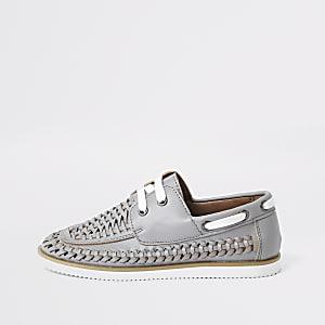 Chaussures bateau tressées grises pour garçon