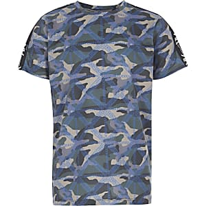 RI Active - Kaki T-shirt met camouflageprint voor jongens