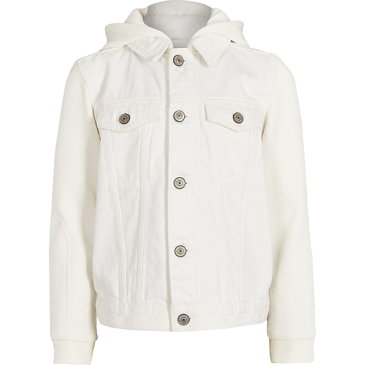 Boys ecru hooded denim jacket