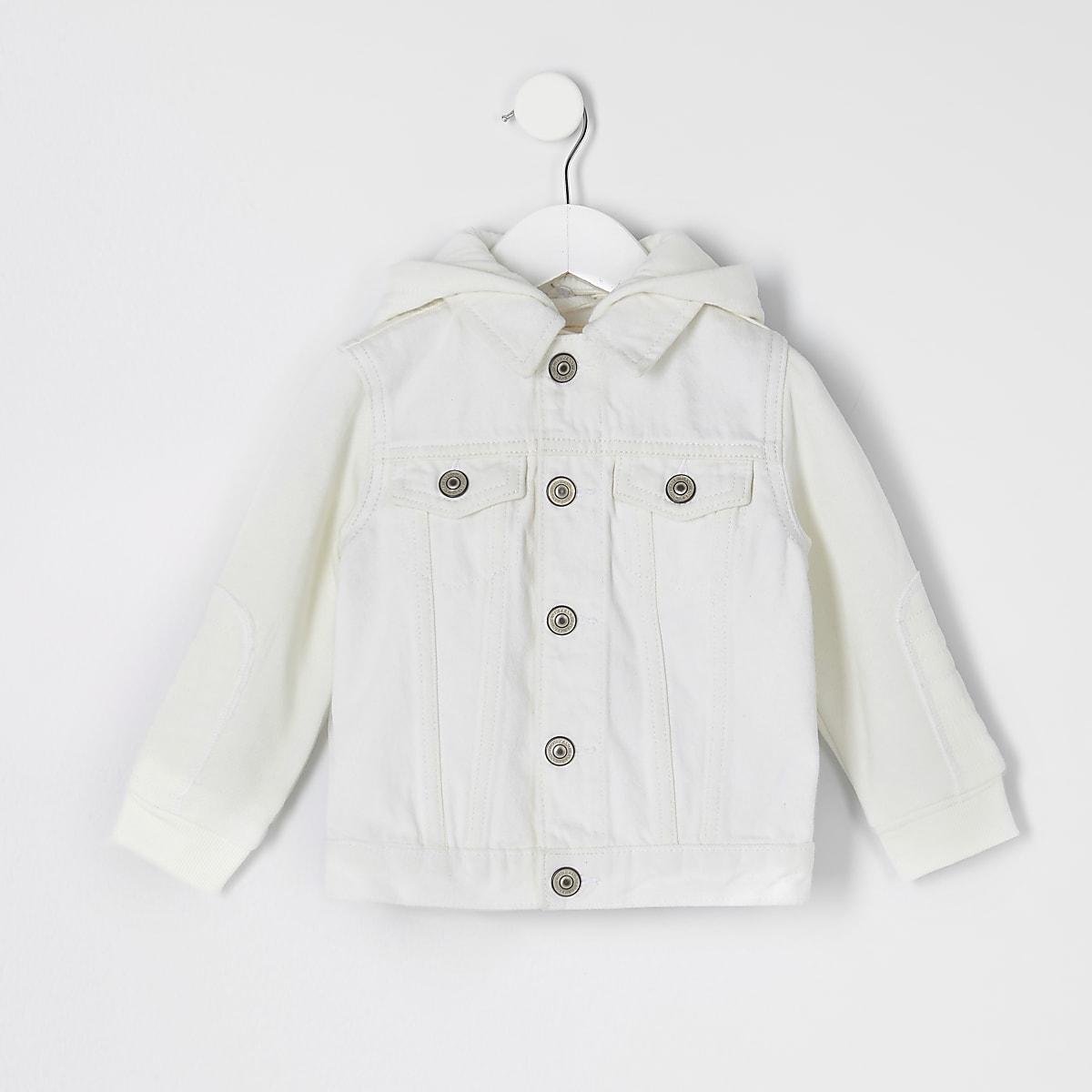 Veste en denim écru à capuche mini enfant