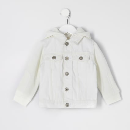 Mini kids ecru hooded denim jacket