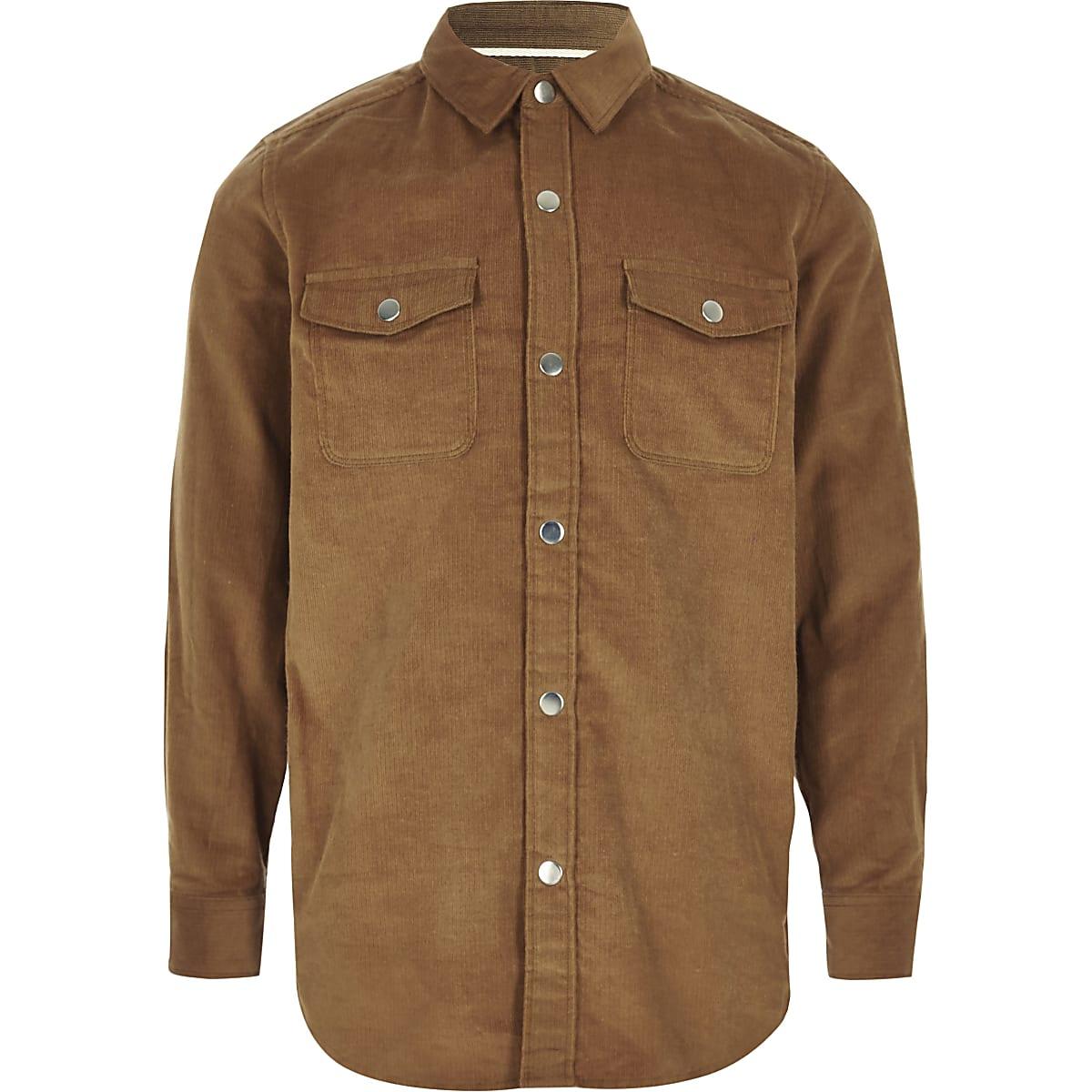 Boys light brown cord shirt