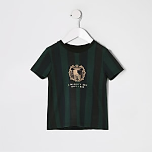 Mini boys green stripe embroidered T-shirt
