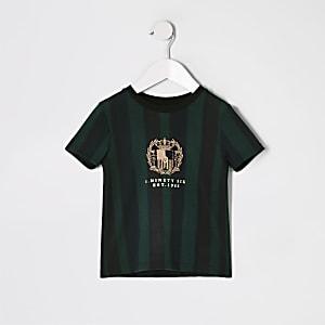 Mini - Groen gestreept T-shirt met borduursel voor jongens